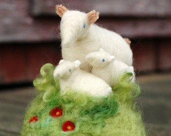 Mama Sheep and her Two Lambs in a Meadow - Made to Order - Needle Felted Pincushion