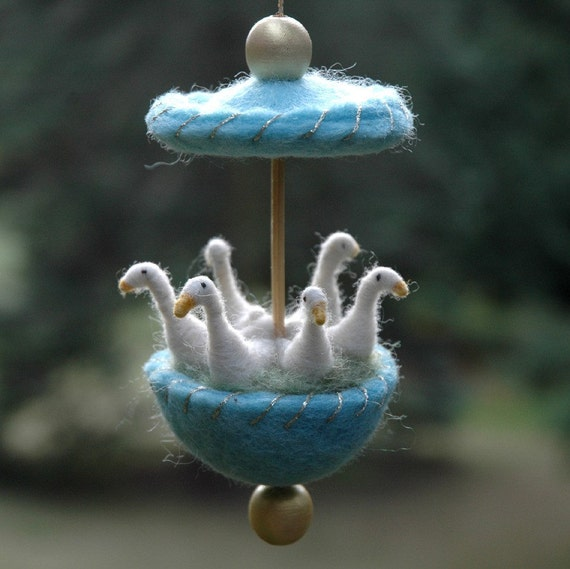 Six Geese a Laying - Needle Felted Twelve Days of Christmas Ornament in Blue