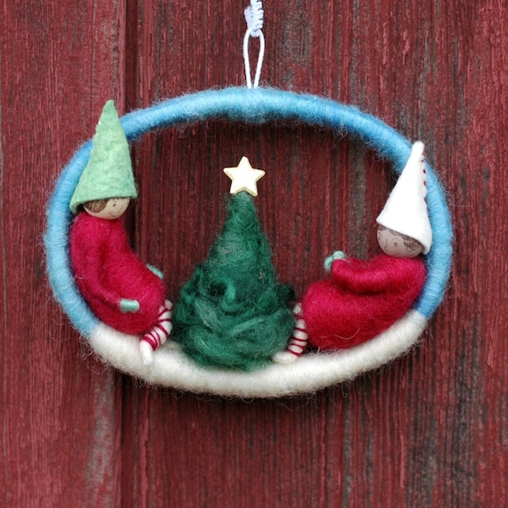 Elves and Christmas Tree - A Small Holiday Wreath