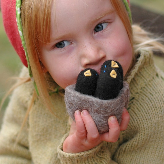 Baby Black Birds in a Nest - Felted Autumn Whimsy