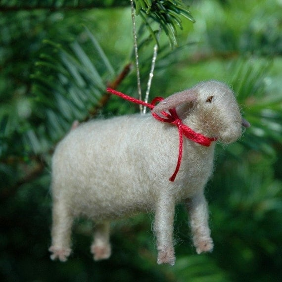 Needle Felted Goat Christmas Ornament - In Taupe