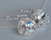 SALE  -Puff Diamond - Swarovski Crystal  and Sterling Silver, Bridesmaids Earrings, Bridesmaids Gift Jewelry
