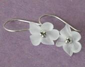White Violet Blossom Flower Earrings