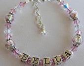 Sterling Silver and Swarovski Crystal Name Children Bracelet, Flower Girl Bracelet, Child Name Bracelet, Pink Childs Name Bracelet