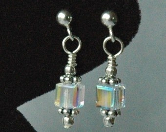 Swarovski Crystal AB Cube Kids Silver Post Earrings