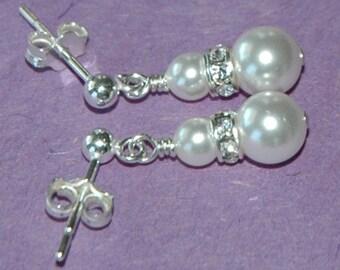 Elegant Children Swarovski Crystal Pearl Rondelle Earrings, Flower Girl Gift Earrings, Junior Bridesmaids Earrings