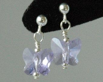Violet Butterfly  Earrings, Crystal Butterfly Earrings, Light Purple Earrings, Earrings, Flower Girl Earrings, Post Earrings