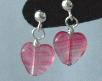 Rose Hearts Sterling Silver Earrings, Valentine's Child Earrings, Red Heart Earrings, Crystal Heart Earrings, Small Heart Earrings, Post Ear
