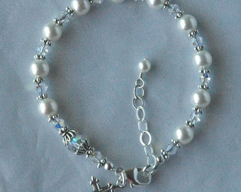 First Communion -  Swarovski Crystal Pearl and  Sterling Silver Rosary Bracelet - Children,  Confirmation Bracelet