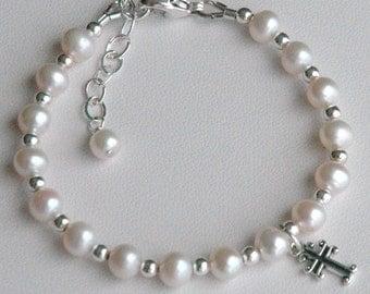Sterling Silver Freshwater Pearls with Cross Children Bracelet