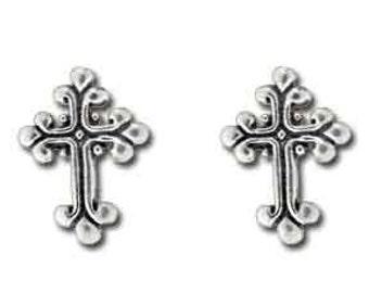 Sterling Silver Small Fancy Cross Stud Post Earrings, Cross Earrings, First Communion Earrings, Confirmation Earrings, Cross Stud Earrings