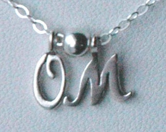 Petite Sterling Silver  Necklace With Two Initial Charm