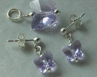 Butterfly  Earrings and Pendant, Swarovski Crystal Butterfly, Butterfly Earrings, Butterfly Pendant, Flower Girl Set,