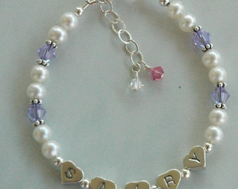 Sterling Silver Name Heart Freshwater Pearl Bracelet, Name Bracelet,Flower Girl Bracelet, First Communion Bracelet,Real Pearl Bracelet