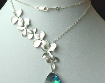 Sterling Silver  Orchid Lariat Style and Swarovski  Crystal Aqua Sphinx  Necklace/Earrings -SET