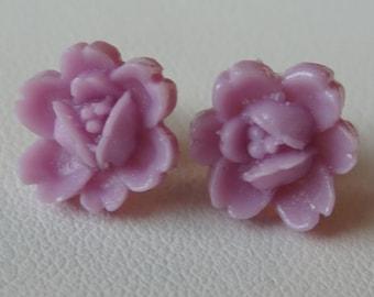 Purple Flower - Sterling Silver Resin  Rose Flower Post Stud Children Earrings