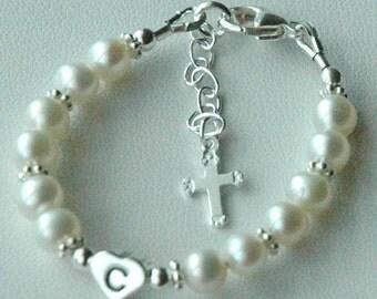 Sterling Silver Initial Heart Freshwater Pearl With Dangle Cross  Custom Children Bracelet