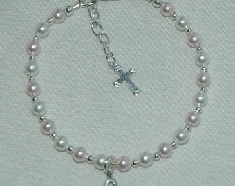 Initial White and Pink Swarovski Pearl Bracelet
