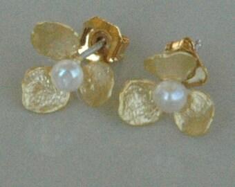 Gold Freshwater Pearl Petal Flower Stud Post Children  Earrings