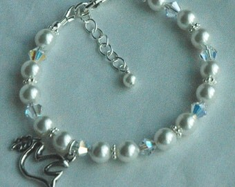 Swarovski Crystal Pearl Sterling Silver Bracelet, Confirmation Bracelet, Fist Communion Bracelet, Holy Spirit Bracelet