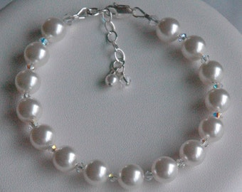 Simple Swarovski Crystal Pearl Children  Bracelet