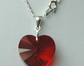 Sterling Silver Swarovski Crystal Children Heart Necklace