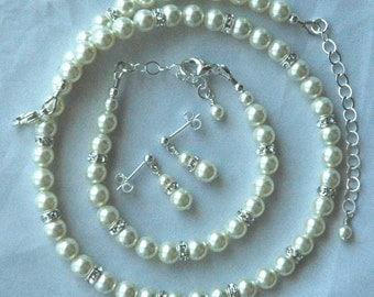 Elegant Children Swarovski Crystal Pearl and Rondelle Necklace/Bracelet/Earrings SET, Flower Girl Jewelry, First Communion Set, Confirmation