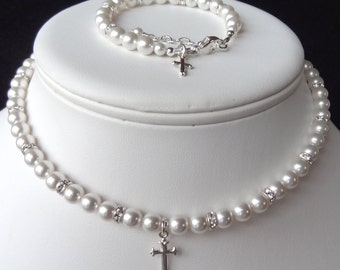 Elegant Children Swarovski Crystal Pearl and Rondelle With Cross  Necklace/Bracelet/Earrings--SET, First Communion, Confirmation
