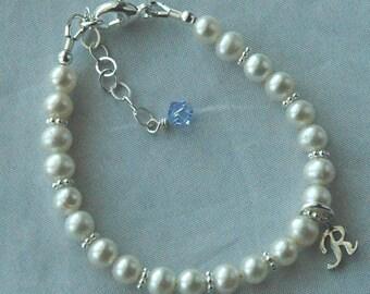 Initial Script  Freshwater Pearl Custom Children Bracelet