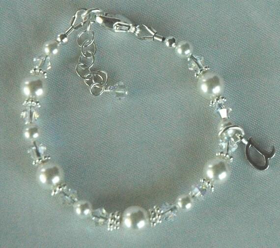 Sterling Silver Princess Initial Children Bracelet, Baptism, First Communion, Flower Girls, Personalized Monogram Bracelet