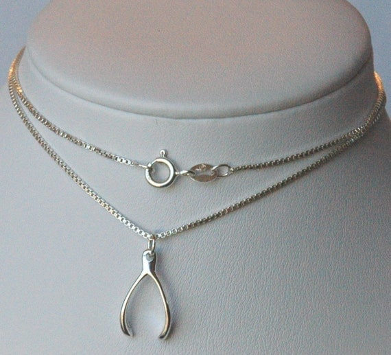 Sterling Silver Large Wishbone Necklace
