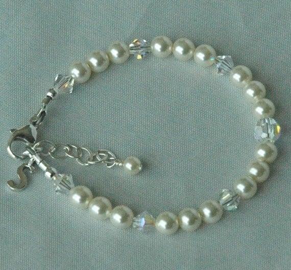 Simple Cream Pearl Initial Custom Children Bracelet