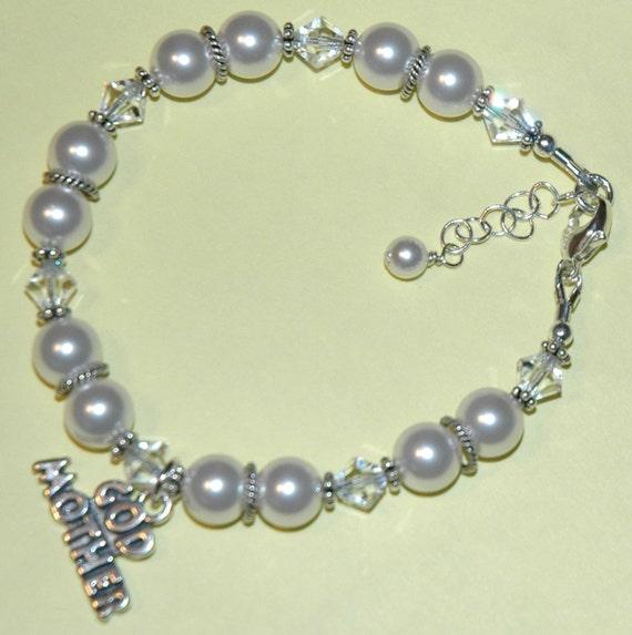 Swarovski Crystal Pearl Godmother Sterling Silver Bracelet