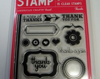 Thanks Clear Stamp Set - American Crafts set of 15 Stamps 40% OFF
