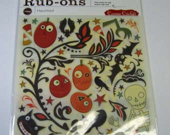 Haunted Rub-ons - 4 Sheets of Halloween Transfer Embellishments 50% OFF