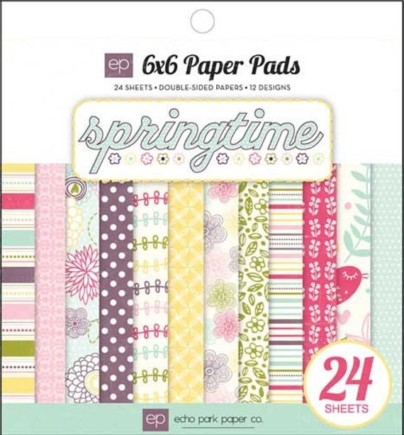 Springtime Paper Pad from Echo Park - 24 sheets of 6x6 double sided paper