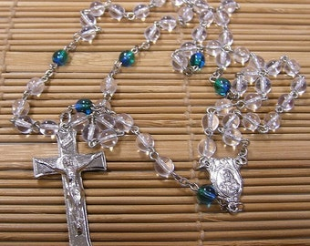 Handmade Mission Rosary  - Crystal and Blue Green Glass Beads Catholic Rosary Baptism Communion Confirmation RCIA Easter Lent