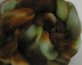 Roving Fiber Merino Top BLUE MOUNTAIN Brown Turquoise Aqua Green Moss Fine Hand Painted Spin Felt Craft 4 ounces