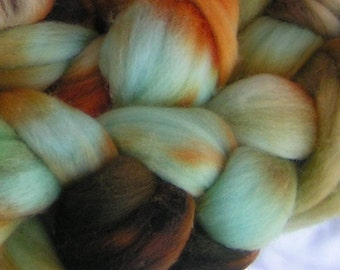 Roving Wool Top Fiber RAW TURQUOISE on Columbia Top Roving Hand Painted Spin Felt Craft 4 ounces