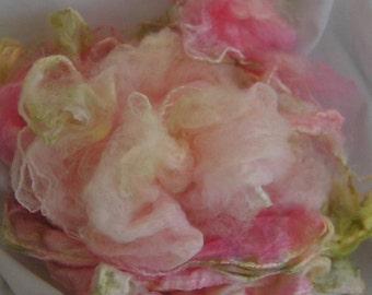 Mawata Silk Hankies PEONY Hand Painted Silk Hankies KNITPACK 42 gram Silk Garden Series Knit Spin Fusion Felt Crafts