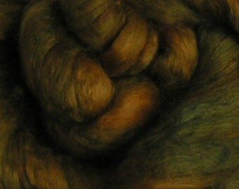 Roving Merino Silk Top Fiber SUCCULENT Velvet Moss Green Golden Brown 50 50 Spin Felt Nuno Craft Roving 4 ounces