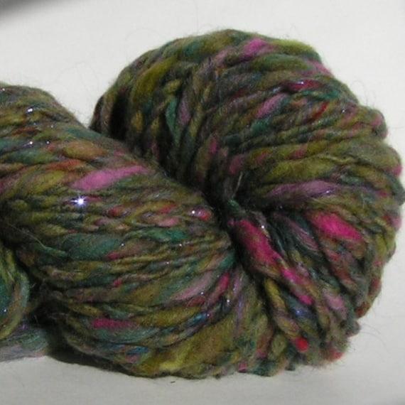 Yarn Handspun GREEN THING Super Bulky Approx 3.5 ounces Approx 50 yards Hand Spun Kitchen Sink Yarn