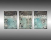 Original Abstract Painting Triptych Modern Multiple Canvases - Title, Lithosphere 63 - Large 24x54 Inches