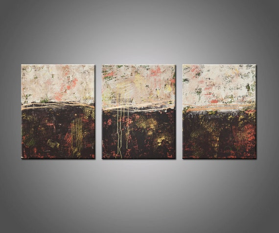 Original Abstract Painting Modern Art Triptych Multiple Canvas - Lithosphere 51 by Hilary Winfield - Large 24x60 Inches