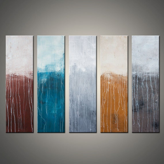 Title - Lithosphere 55 - Large 30x50 Inch, Original Abstract Canvas Painting - Multiple Canvases
