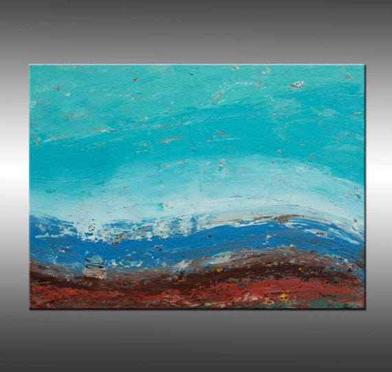Original 24x30 Inch Abstract Landscape Painting, Modern Art, (Title) Shoreline 2