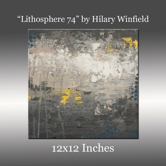 Gray and White Abstract Art - Title: Lithosphere 74 by Hilary Winfield - 12x12 Inch Canvas, Acrylic, Original Modern Painting