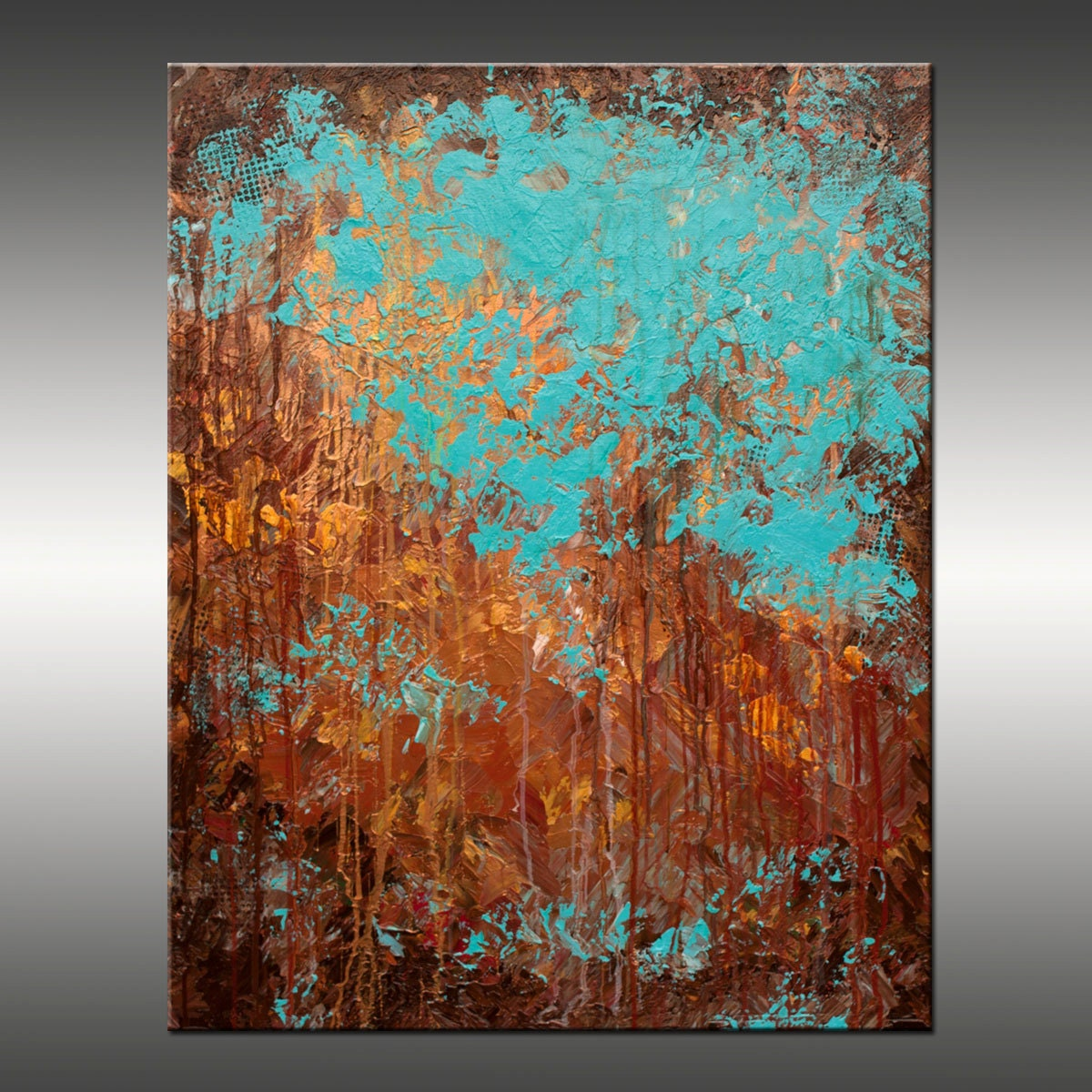 Original abstract modern painting title recollection for Contemporary mural art