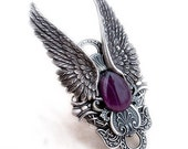 Large Gothic Ring Gothic Jewelry Angel Wings Ring silver Full Finger Ring Purple Statement Rocker Ring hypoallergenic jewelry