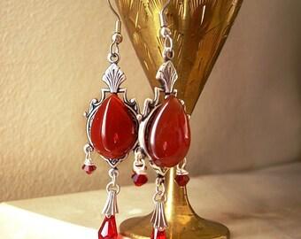 Red Dangle earrings Victorian Jewelry Carnelian earrings Red Swarovski dangling Earrings Goth Jewelry Victorian Earrings gift for her